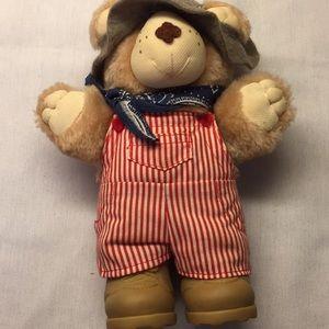 "Furstkins Teddy Bear 7.5"" Red Overalls & Bandana"